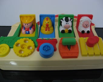 Vintage 1993 - Fisher Price - Farm Animals Pop Up Pals!