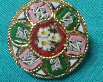 Vintage Mosaic Brooch Pin Made in Italy