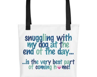 snuggling with my Dog - Tote Bag