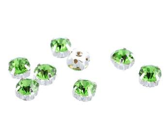 Set of 5 claw 5x5mm green acrylic rhinestones silver