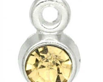 Set of 2 pendants with Rhinestone yellow - 8x5mm