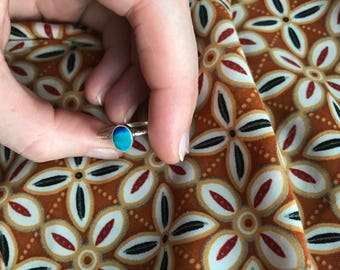 Solid Sterling Silver Ethiopian Opal Turquoise Green/Blue Ring
