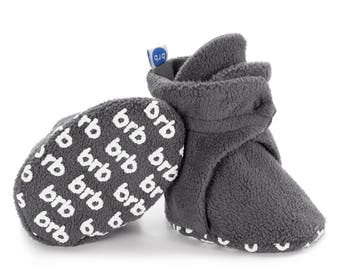Fleece Baby Booties | Organic Cotton Linings and Anti-Slip Grippers | Baby Shoes for Boys and Girls | Great Baby Gift! | Color: Slate Grey