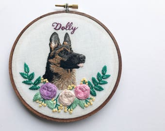 Custom Pet Portrait Embroidery Hoop Art Hand Embroidered Personalized Embroidery Dog Portrait Art by Hoffelt and Hooper Co