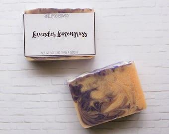 Lavender Lemongrass Soap-Handmade Soap, All Natural Soap, Vegan Soap, Bar Soap, Cold Process Soap