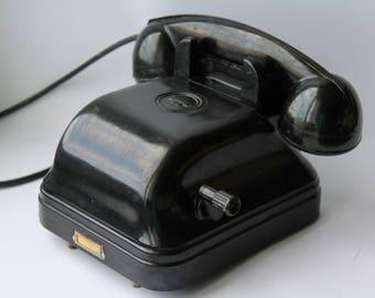 Soviet wall phone. Soviet telephone. Vintage phone. Vintage telephone. Rotary Dial Phone. Black rotary phone