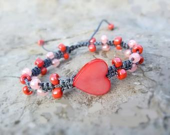 Pink Heart bracelet Cute Girl bracelet Heart Friendship jewelry gift Girlfriend bracelet Love jewelry Pink Macrame bracelet Heart jewelry