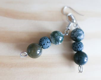 Lava Rock   Diffuser Earrings   Aromatherapy   Essential Oil   Therapy Earrings   Beaded Earrings   Dangle Earrings   Yoga   Handmade