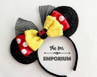 Classic Minnie Mouse Inspired Ears Headband ~ Yellow Minnie Red Polka Dot