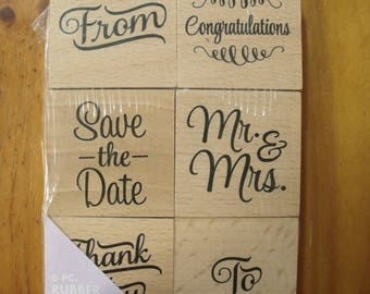 6 pc Wedding Set of Hampton Art Wood Mounted Rubber Stamps - Brand New & Sealed