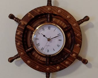 Ship's Wheel Clock.  CNC carved, Hand finished.