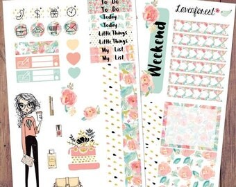 fashion planner stickers, happy planner stickers, fashion girl,  typewriter stickers, fashion stickers, make up stickers, full box , MK007