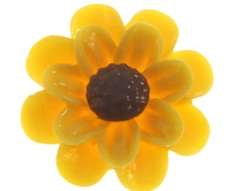 20 pcs Sunflower resin cabochons - 24mm - Set of 20