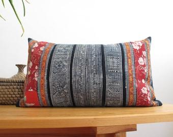 Vintage Indigo Batik, Hmong, Hill Tribe, Jungalow, Boho, Pillow Cover