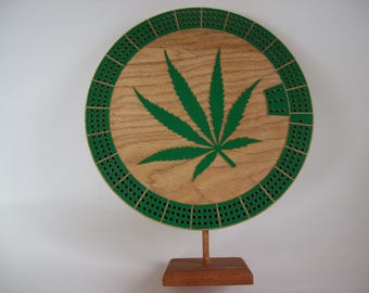 Pot Leaf Custom Cribbage Board