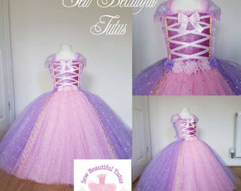 Rapunzel Sparkle Ball Gown Girl tutu dress - Fun Party Outfit Fancy Cute Birthday