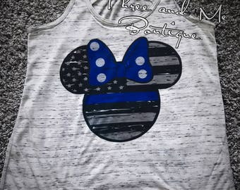 Thin Blue Line Inspired Mouse Ears Tank for Women; Police Support Tank