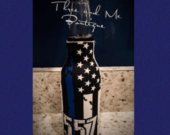 Thin Blue Line Flag Inspired Bottle Cozie with Badge Number; Bottle Insulator