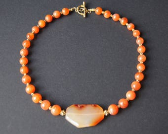 Natural Carnelian and Gold Vermeil Choker Necklace EI 170