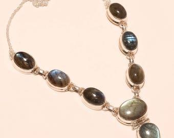 Natural Labradorite necklace Labra Flashing Stone necklace Gemstone 925 Sterling Silver Labradorite necklace Sterling Silver necklace E1028