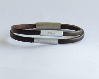 Personalized engraved bracelet, Bracelet with names, Leather bracelet, Gift for father, mens personalized, gift for men, leather bracelet,
