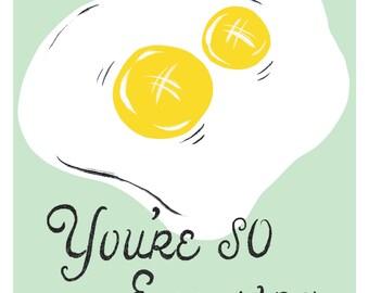 You're So Egg-Stra Punny Art Print   Double Yolk Egg   You're So Extra   Kitchen Art Print