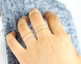 Chain Ring, Soft Ring, Minimalist Ring, Dainty Ring, Ball Chain Ring, 14K Solid Gold Ring, Thin Gold Ring, Stackable Ring, Layering Ring