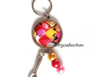 Keychain candy, cabochon candies, pearl red pink golden, glass cabochon, jewelry bag, jewelry bag cat