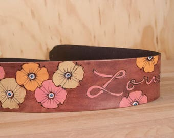 Custom Guitar Strap with Name and Flowers - Poppy Garden Pattern with Flowers in Pink and Mahogany - Acoustic or Electric Guitar Strap