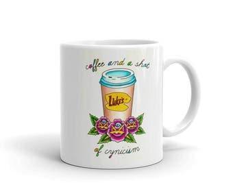 Luke's Diner, Coffee and a Shot of Cynicism Tattoo Flash Mug