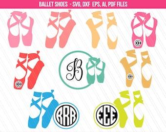 Ballet shoes svg, Ballet Dancer Svg, Ballet SVG, Ballerina Clipart, Ballet shoes monogram svg, Cricut, Dancer svg - Svg, Dxf, Ai, Eps, Pdf