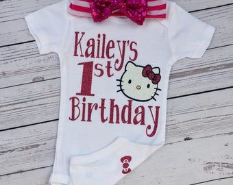 Hello kitty birthday bodysuit, birthday baby, birthday outfit
