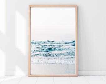 beach print, sea wall art, waves poster, sea waves wall decor, ocean printable art, nautical decor, minimal wall art, sea photography, calm