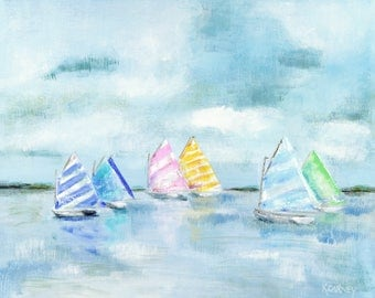 The Sails of Summer: Fine art giclee sailboat print from original sailboat painting