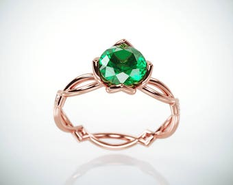 SALE Christmas in July! 14K Rose Gold Emerald Engagement Ring  | 14k rose gold Natural Emerald and Diamonds engagement ring