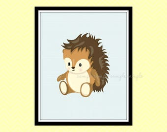 Woodland Nursery Decor, Woodland Animals Printable Wall Art, Hedgehog Wall Art Decor, Baby Wall Art Decor, Instant Download