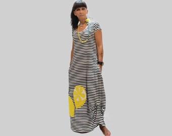 Blue women dress with stripes and lemons/ organic cotton women dress/ summer long dress/ dress with stripes/ women loose dress