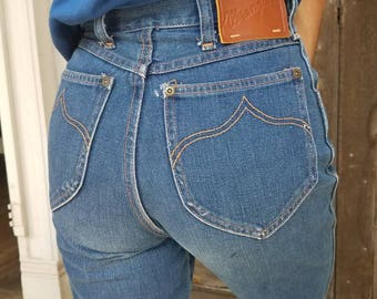 Vintage 1970s 70s Wrangler jeans western denim dark 24 waist high waisted