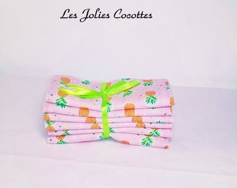 Six large wipes washable toilet and baby care, pineapple Lady Collection