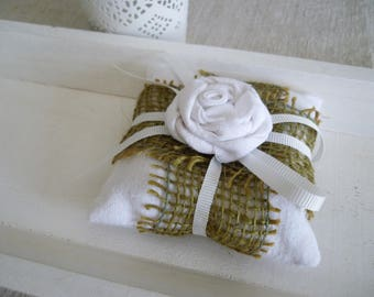 Scented with Lavender burlap and white decorative pillow