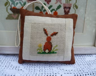 Easter decoration - decorative pillow - embroidered door pillow point cross - Easter Bunny - easter - rabbit - spring cushion