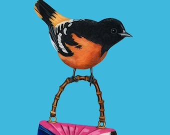 Oriole Bird Painting, Baltimore Oriole Painting ,Gucci Purse, Bird Painting with Blue, One of a Kind Bird Painting