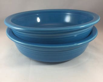 Fiestaware Cereal Bowls - Blue Fiestaware Bowls - Vintage Bowls - Blue Cereal Bowls - Blue Bowls - Vintage Fiesta Ware - Blue Fiestaware