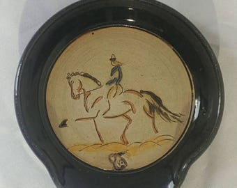 Dressage Horse and Rider stoneware pottery spoon rest or soap dish