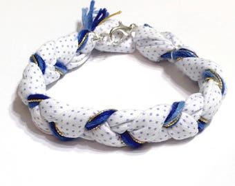 Blue bracelet, Boho braided bracelet, braided bracelet, gold hippie bracelet, fabric bracelet, stack bracelet