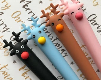 Reindeer Gel Pen, Gel Pen, Cute Gel Pen, Christmas Gel Pen, Stocking Filler, Deer Gel Pen, Christmas Stationery, Animal Pen
