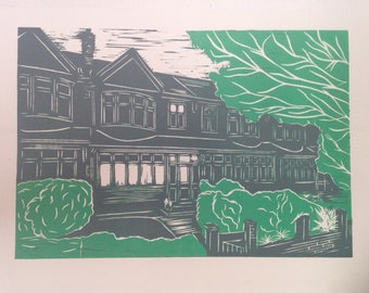 Custom made Lino print from photo (A4) - 2 or more colours