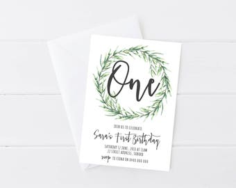 Nature Birthday Invitation | Number Birthday Invitation | Garden Birthday Invitation | Kids Birthday Invitation | Fern Wreath Invitation