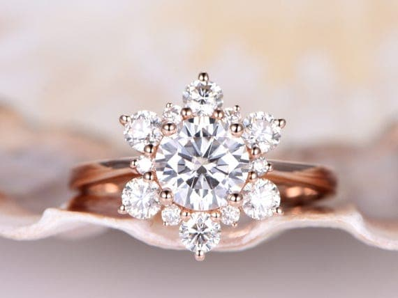 Vintage floral moissanite engagement ring,6.5mm round cut moissanite bridal ringmoissanite floral halo,14K rose gold plain band,bridal ring