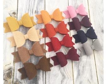 Autumn mini bow, fall fringe clips